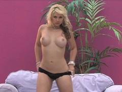 Beautiful busty blonde Sandra Vandella posing and showing her amazing body