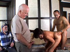 Vanessa Videl gets sprayed with a fresh load of cum on her mouth