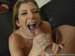 Hot Milf Sara Jay gets sprayed with a fresh load of cum on her mouth
