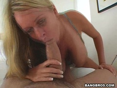 Big busted Brandy Taylore sucks off a huge meaty cock