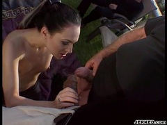 Victoria Sin takes a long hard meat cock on her mouth under the sun