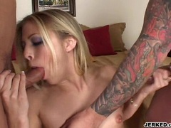 Hot babe Leah Luv blows two hard cock one at a time