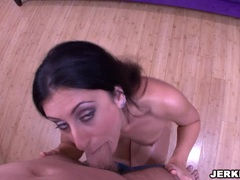 Busty latina Luscious Lopez sucks a hard meat cock