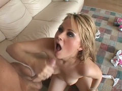 18yr old blonde Sindee Jennings gets pounded from behind and takes creamy facial