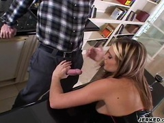 Jackie Moore bows down her head and munch a hard meat cock
