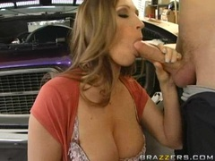Hot mom Devon Lee pumping a hard meat dick on her mouth