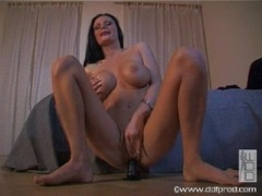 Karma Rosenburg sits her twat on a rubber cock until she cums