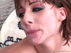 Sierra Sin recieves a sticky load of cum in her mouth