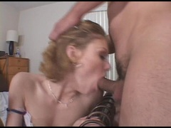 Pretty girl Emily Evermoore gets throatred by massive cock