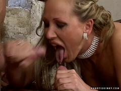 Kinky Mandy Bright enjoys the spray of cum from two hard dicks