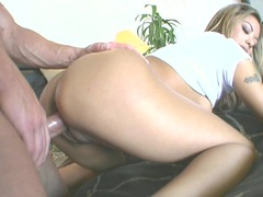 Horny asian babe Kay Lei gets banged hard doggyway by huge white cock
