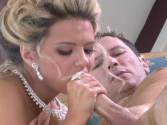 Ashlynn Brooke takes a long hard cock on her warm mouth