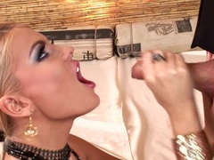 Jasmine Rouge bows down her head and munch a hard meat rod