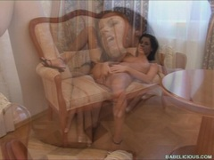 Klara Smetanova fills her twat with her fingers in the sofa until she cums