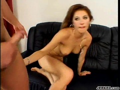 Janet Alfano recieves a fresh jizzload on her face