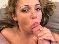 Busty slut Taylor Ann blowing massive hard cock