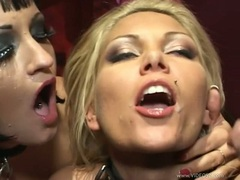 Anna Nova and her friend recieves a fresh load of cum on their mouths