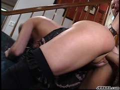 Brandi Lyons getting drilled on her twat while muching another hard cock