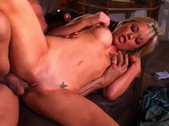 Sexy Kayden Kross gets fucked hard and creampied on the couch