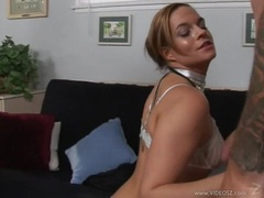 Hot babe Crissy Cums blows a hard meat cock alternately