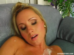 Nikita Blonde on cream on her body toying her twat until she cums
