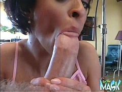 Harley Davis gets her mouth fucked by a huge cock with a mask