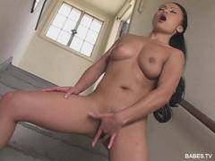 Hot babe Mya Luanna finger fucks her tight asian pussy