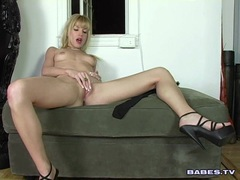 Babe Angie Savage playing her nice tits and sweet pink clit