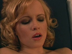 Stunning blonde Monika Sweet strips and plays her juicy pink hole