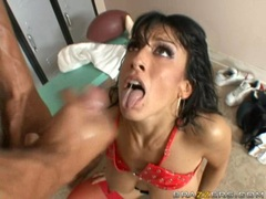 Ricki White gets a messy load of cum in her mouth