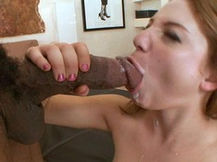 Aurora Snow recieves a messy load of cum in her mouth