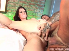 Dark haired sex pot Jennifer Dark assfucked hard and gets massive facial cumblow