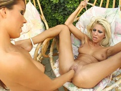 Hot blonde Clara G gets her tight pussy fisted hard by nasty babe Peaches