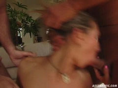 Janet Alfano together with Stacy Silver blows a hard meat cock