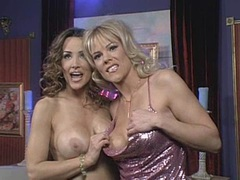 Busty milf Lisa Ann and lesbo friend bares off their lovely tits