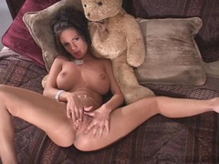Cute babe Crissy Moran rubbing her wet pink clit