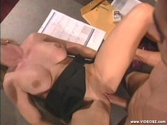 Hot blonde Calli Cox getting pounded on her twat by a hard cock in a hard desk