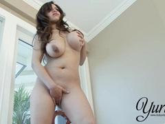 Latina Yurizan Beltran rubs her big boobs and moist pussy