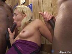 Olivia Saint takes two big black hard cocks on her mouth alternately