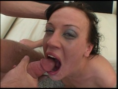 Holly Wellin gets a warm load of cum in her mouth