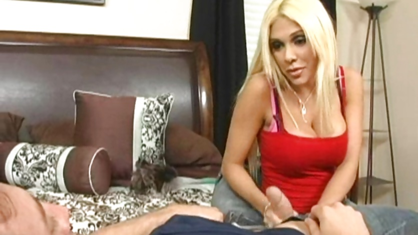 Blonde busty Carmel Moore bows down her head and suck a hard meat cock