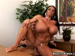Lisa Lipps pumping her pussy on a hard meat shaft at the office