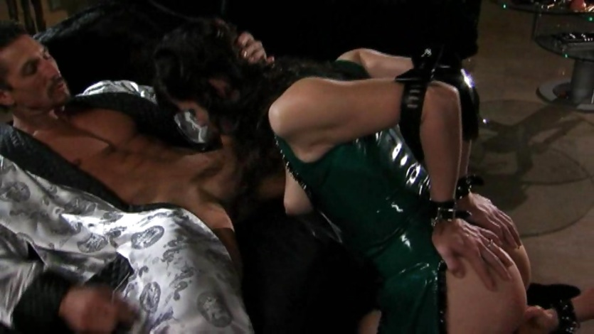 Naughty Bobbi Starr takes a hard shaft and shares it to a friend
