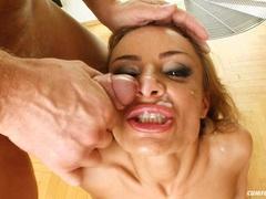 Wild whore Bonny Bon receives a warm popshot on her face