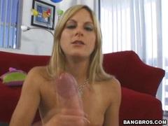 Teen babe Courtney Simpson masturbates a long thick shaft and gets jizzed
