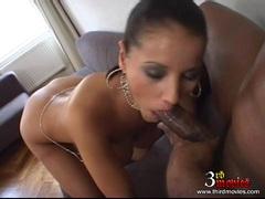 Pornstar Angel Dark gagging a big fat black dick