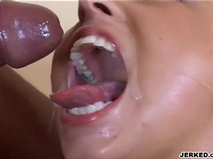 Hot blondie Georgia Peach opens her mouth for more cum blast