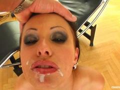 Sexy cock hungry Nikki Rider takes messy warm cumsprays