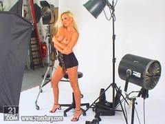 Sexy babe Vega Vixen stripping in a photoshoot