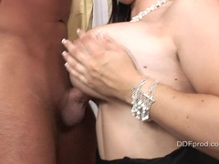 Brunette Kristi Love gets her busty tits fucked and her sweet pussy licked